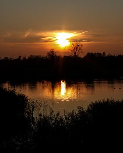soleil coucher étang quesnoy