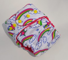 Bumstoppers One Size Hybrid Fitted Scribble Rainbow Pink inner Snap down or  Fold over Rise