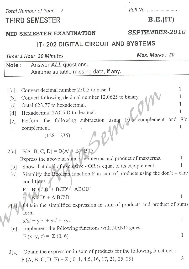 DTU Question Papers 2010 – 3 Semester - Mid Sem - IT-202