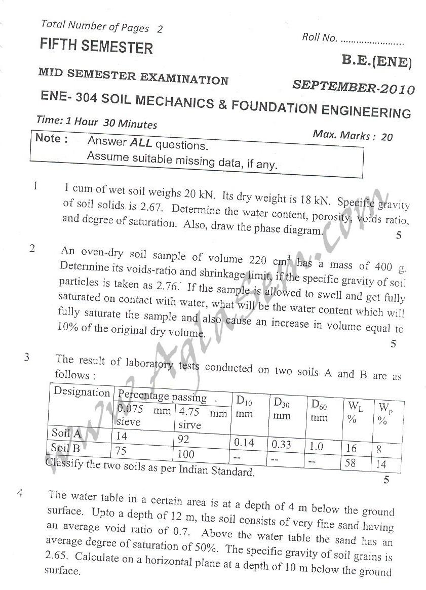 DTU Question Papers 2010 – 5 Semester - Mid Sem - ENE-304