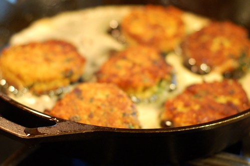 Curried quinoa cakes frying by Eve Fox, Garden of Eating blog, copyright 2013
