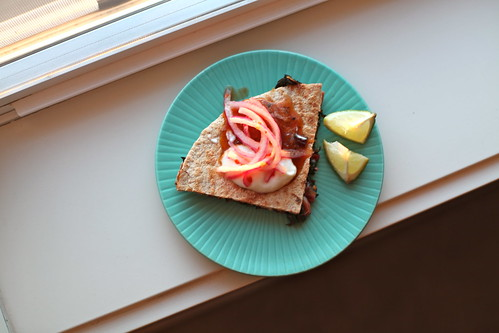 Swiss Chard Quesadillas & Pickled Onions