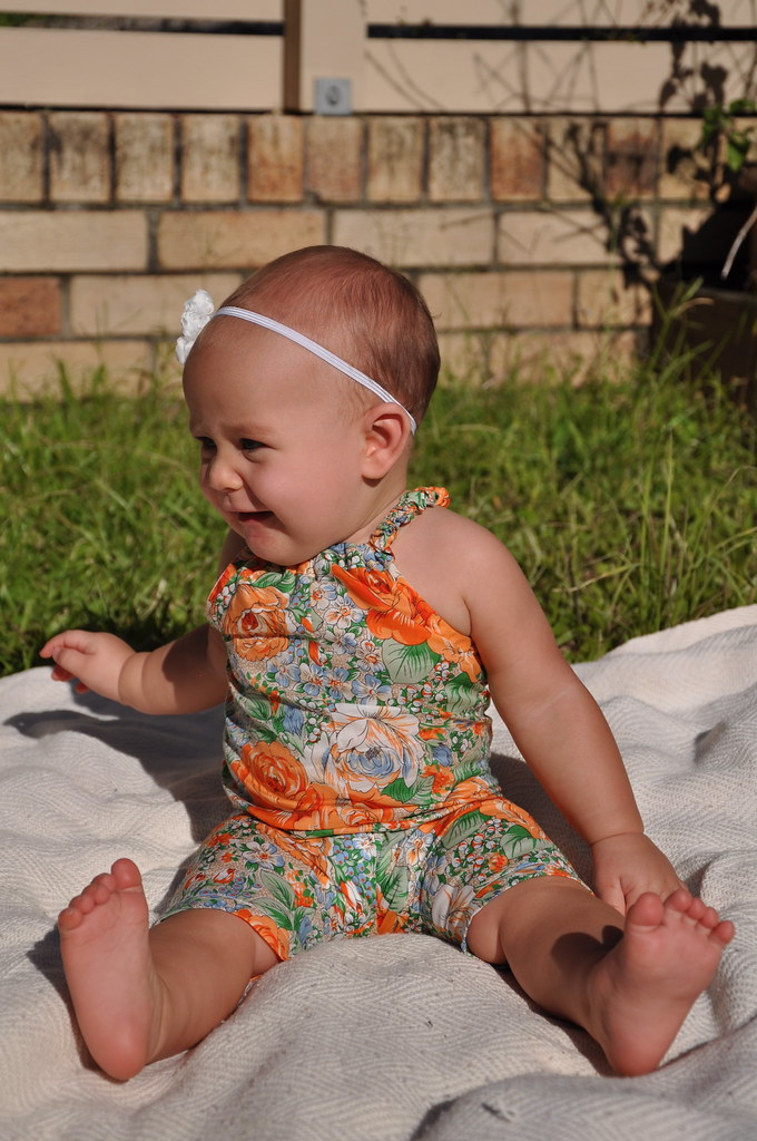kids clothes week elsie marley day one spring 2013 orange floral bubble romper