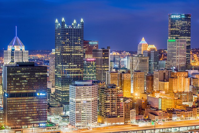 A close up of the Pittsburgh skyline from Mt. Washington HDR