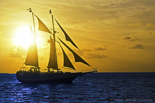 ship in the sunset by Alida's Photos