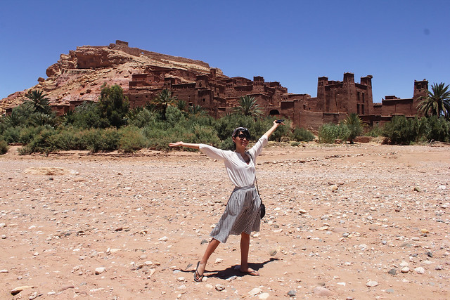 Standing on a dried river in Ait Benhaddou