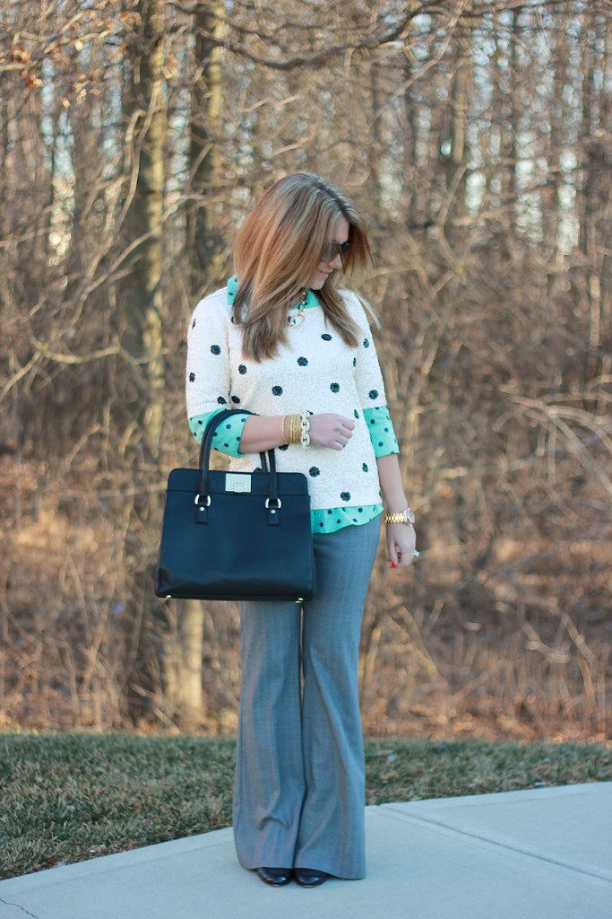 Mint Polka Dot Top and Sequin Dots Outfit