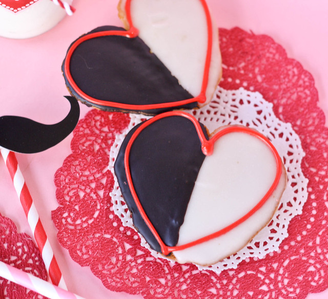 Heart Shaped Black and White Cookies recipe