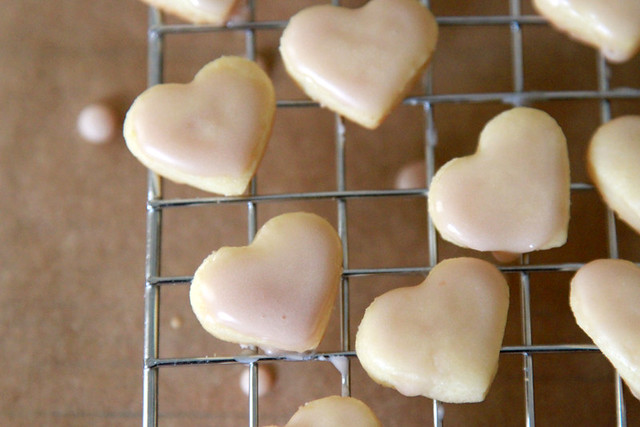 sugar cookies hearts with pomegranate glaze