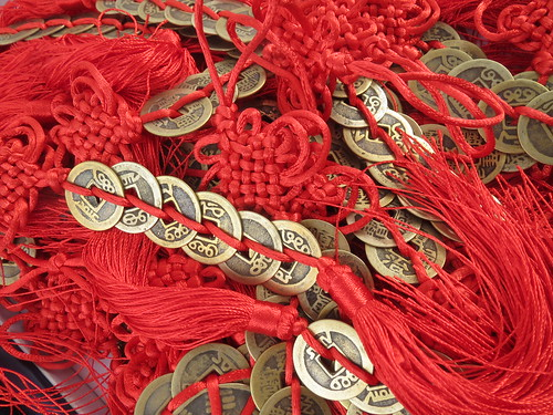 Chinese Lucky Charm: Red Tassles and Gold Coins
