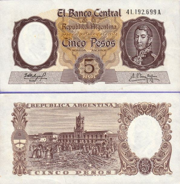 5 Pesos Argentína 1960-62, Pick 275