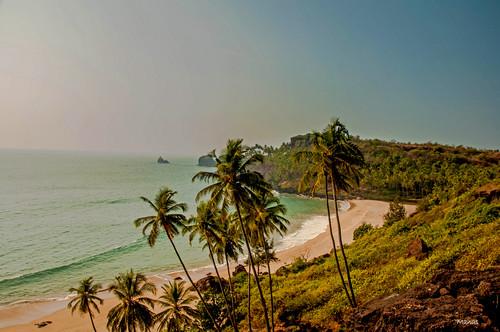 ocean sea india mountain beach landscape coconut goa aerialview arabian arabianocean nikond90 caboderama manasmayur
