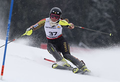Elli Terwiel skis to a 28th-place finish in ladies' slalom in Schladming, Austria, at the 2013 FIS Alpine World Ski Championships.