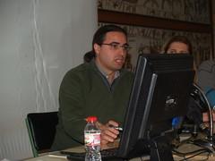 Francesc Comino, gerent d'iGetech Innova, del grup Wattia, empresa que s'ha encarregat de la part tènica del sistema d'eficiència energètica, durant la seva intervenció.