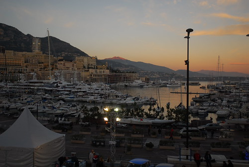 Sunset over the marina at Monte Carlo