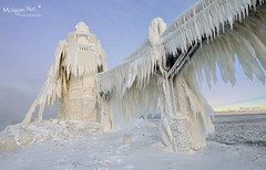"""Gnarly Ice"" St. Joseph Lighthouse by Michigan Nut"