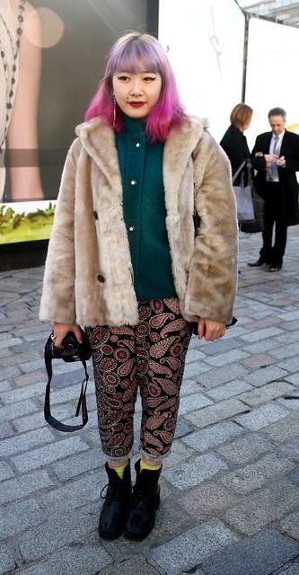 parsley trousers,pink hairstle, pink hair, fur coat, cream fur coat, boots, printed trousers