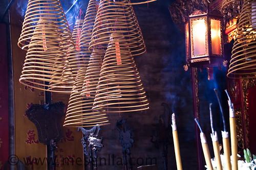 Espirales de incienso en el Templo Sam Kai Vui Kun de Macao