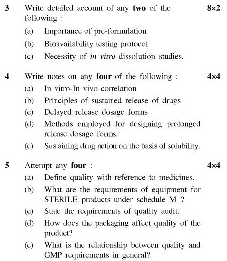 UPTU B.Pharm Question Papers PH-481 - Pharmaceutics X (Dosage Form Design)