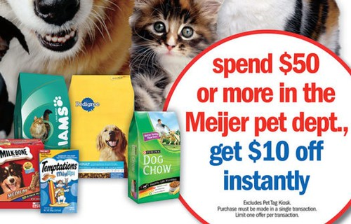 Meijer Spend $50 Get $10 in the Pet Department and Using Target