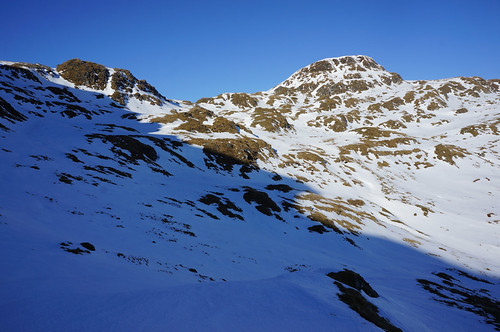 Looking up at Beinn nan Eachan (right) and Great Gully (right) from below Creag na Caillich