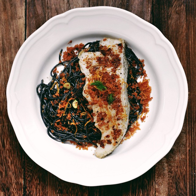 Fennel Squid-Ink Pasta with Baked Cod and the Best Chocolate Pudding