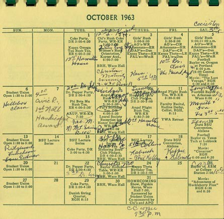 Baylor University Student Union calendar, October 1963