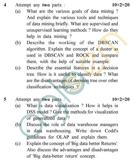 UPTU B.Tech Question Papers - CS-031 - Data Mining & Ware Housingg