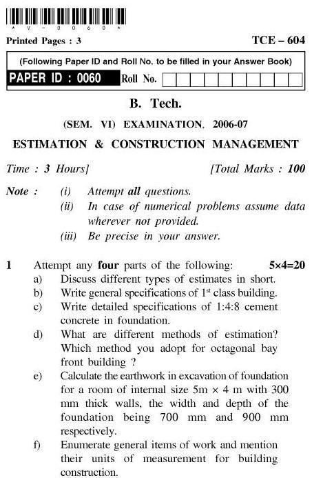 UPTU B.Tech Question Papers - TCE-604-Estimation & Construction Management