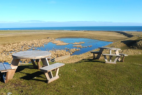 Picnic benches at Lindisfarne Castle