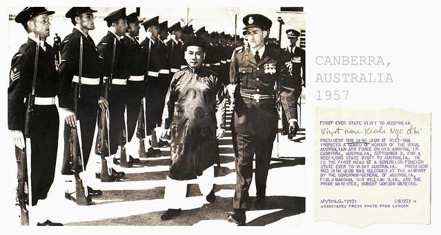 1957 CUỘC VIẾNG THĂM CHÍNH THỨC ĐẦU TIÊN TỚI NƯỚC ÚC-- (South Vietnam Ngo Dinh Diem visit to Australia) - Press photo