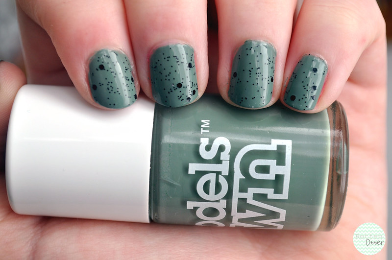 models own grace green nubar black polka dot notd nail polish rottenotter rotten otter blog