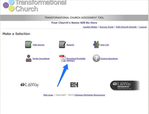 graphic relating to Printable Surveys titled Transformational Church Examination Software