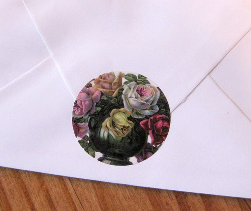 Old-fashioned vase of roses sticker seal