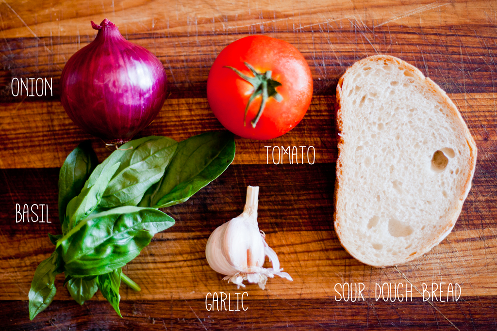 lunch // bruschetta ~ classic tomato + basil ingredients list
