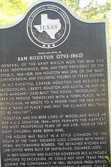 Photo of Temple Lea Houston, Andrew Jackson Houston, Sam Houston, and Margaret Lea Houston black plaque