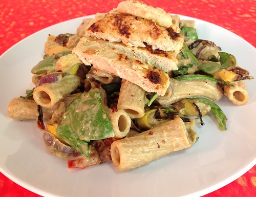 Roasted Vegetable Pasta with Cashew Sauce