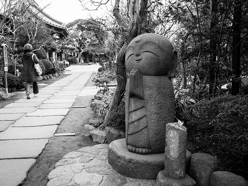 Happy monk statue, Hase-dera Temple, Kamakura by KaraNagai