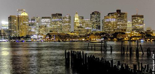 Boston Skyline At Night... by Swapan Jha