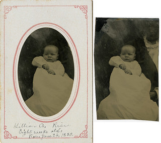 Baby Lillian with Hidden Mother - Tintype In and Out of Mat