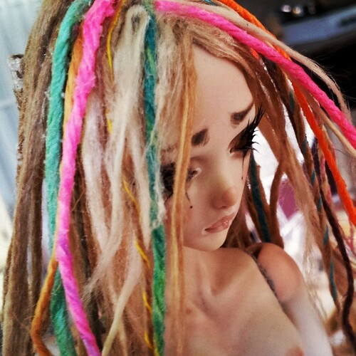 Painstaking hand made dreadlocks for a Magical Mushroom Fairy for @strychninberlin by FHdolls