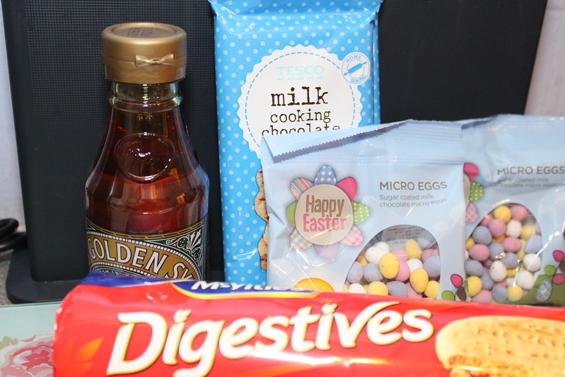 Ingredients for Easter Mini Egg Chocolate Tiffin