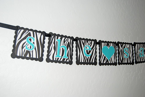 she said yes Black Tiffany Blue zebra print custom paper banner