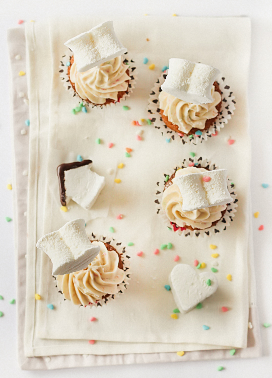 Passionfruit Cupcakes with Marshmallow Toppers