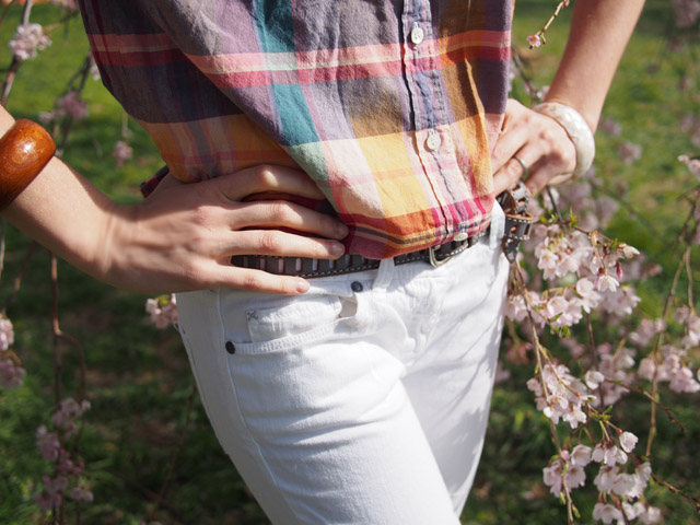 my fair vanity, rachel mlinarchik, cherry blossoms, peak, plaid, tidal, white jeans, washington dc