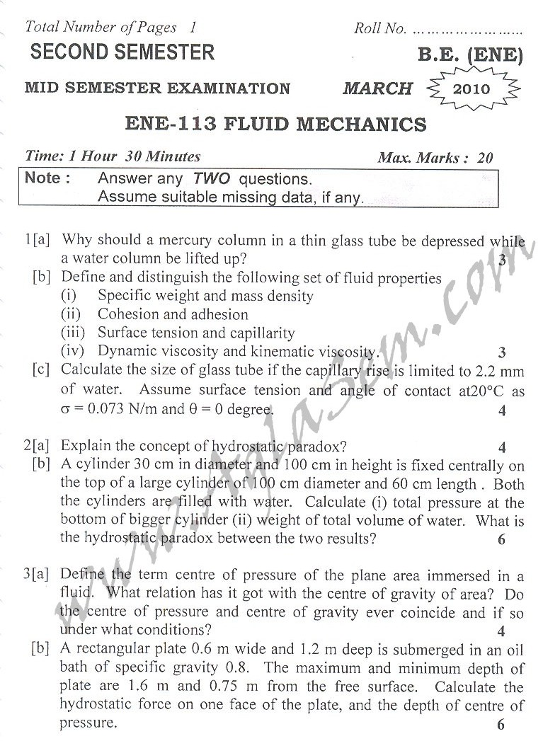 DTU Question Papers 2010 – 2 Semester - Mid Sem - ENE-113