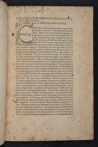 Ink initial in Cicero, Marcus Tullius: Epistolae ad familiares
