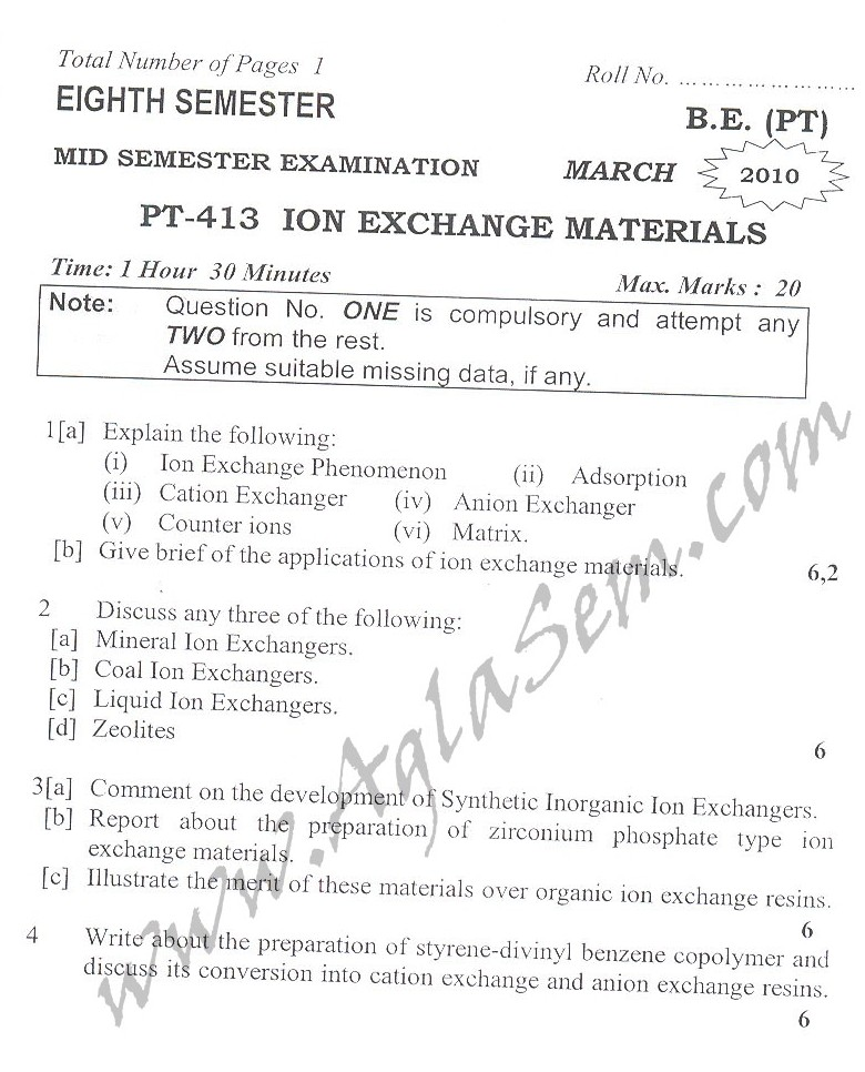 DTU Question Papers 2010 – 8 Semester - Mid Sem - PT-413