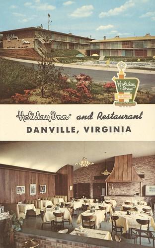 vintage virginia postcard danville holidayinn multicolored dualview restaurantview