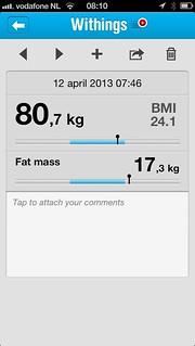 Vrijdag 12 april gewicht 80,7